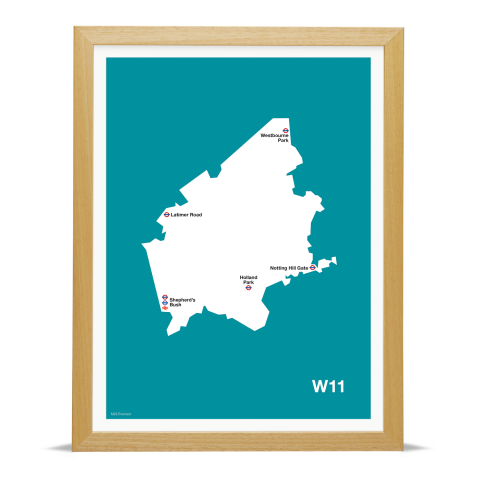 Place in Print MDL Thomson W11 Postcode Map Teal Art Print Wood Frame