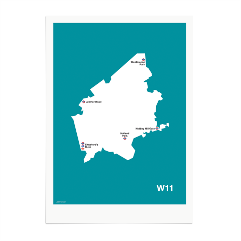 Place in Print MDL Thomson W11 Postcode Map Teal Art Print Unframed
