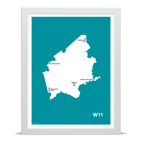 Place in Print MDL Thomson W11 Postcode Map Teal Art Print White Frame