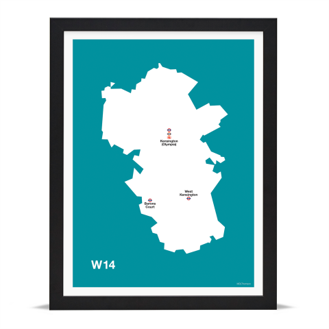 Place in Print MDL Thomson W14 Postcode Map Teal Art Print Black Frame