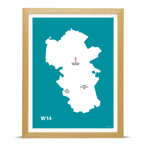 Place in Print MDL Thomson W14 Postcode Map Teal Art Print Wood Frame