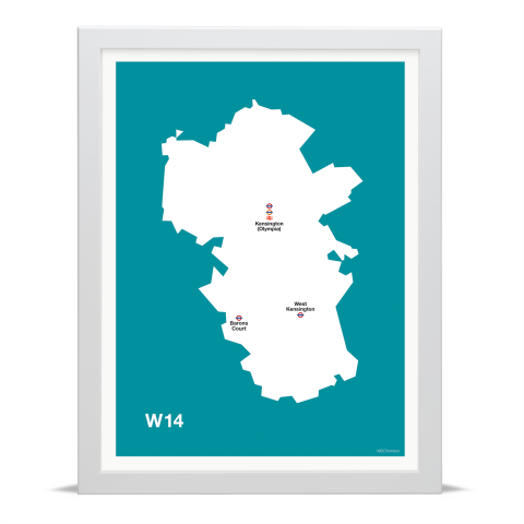 Place in Print MDL Thomson W14 Postcode Map Teal Art Print White Frame