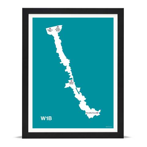 Place in Print MDL Thomson W1B Postcode Map Teal Art Print Black Frame