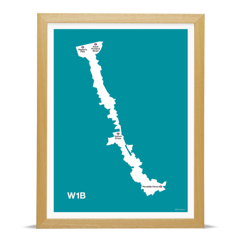 Place in Print MDL Thomson W1B Postcode Map Teal Art Print Wood Frame