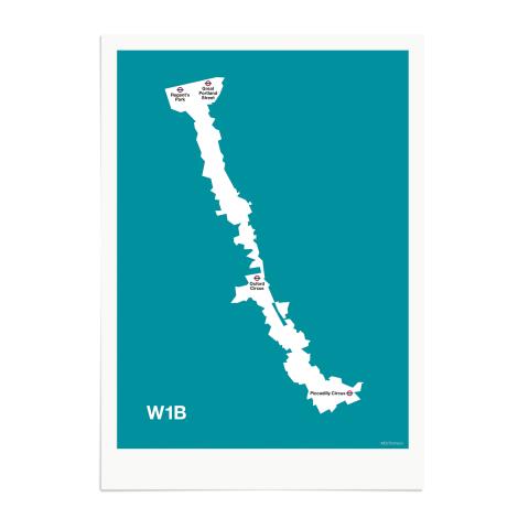 Place in Print MDL Thomson W1B Postcode Map Teal Art Print Unframed