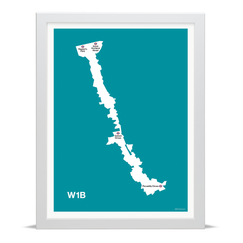 Place in Print MDL Thomson W1B Postcode Map Teal Art Print White Frame