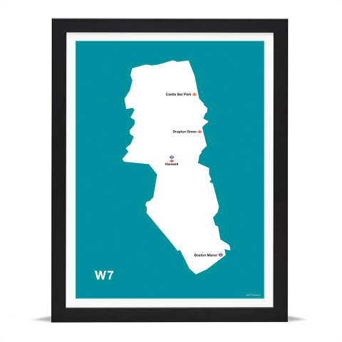 Place in Print MDL Thomson W7 Postcode Map Teal Art Print Black Frame