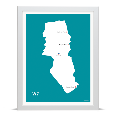 Place in Print MDL Thomson W7 Postcode Map Teal Art Print White Frame