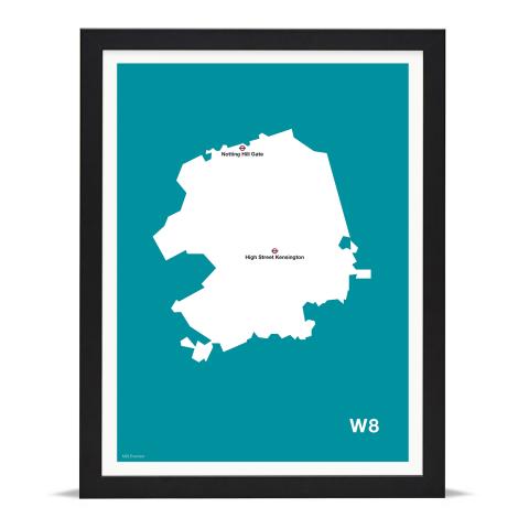 Place in Print MDL Thomson W8 Postcode Map Teal Art Print Black Frame