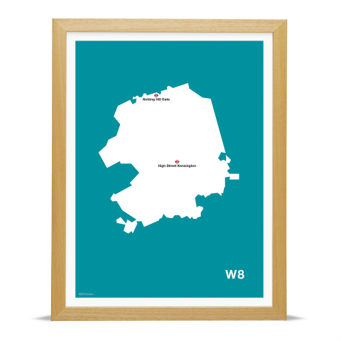 Place in Print MDL Thomson W8 Postcode Map Teal Art Print Wood Frame