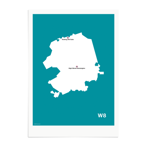 Place in Print MDL Thomson W8 Postcode Map Teal Art Print Unframed