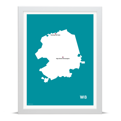 Place in Print MDL Thomson W8 Postcode Map Teal Art Print White Frame