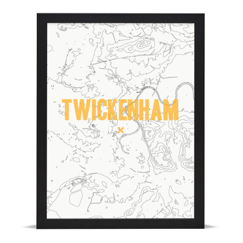 Place in Print Twickenham Contours Gold Art Print Black Frame