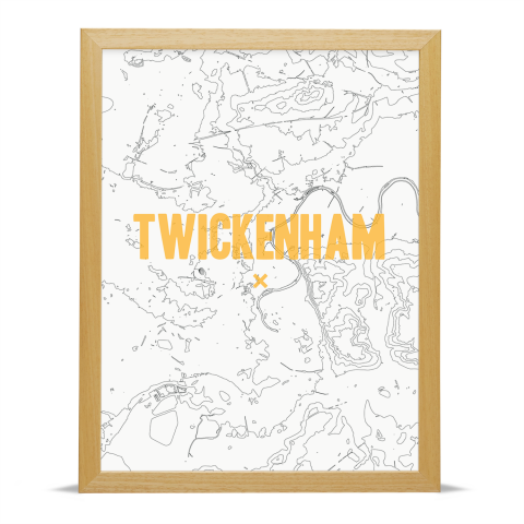 Place in Print Twickenham Contours Gold Art Print Wood Frame