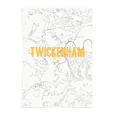 Place in Print Twickenham Contours Gold Art Print Unframed