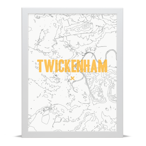 Place in Print Twickenham Contours Gold Art Print White Frame