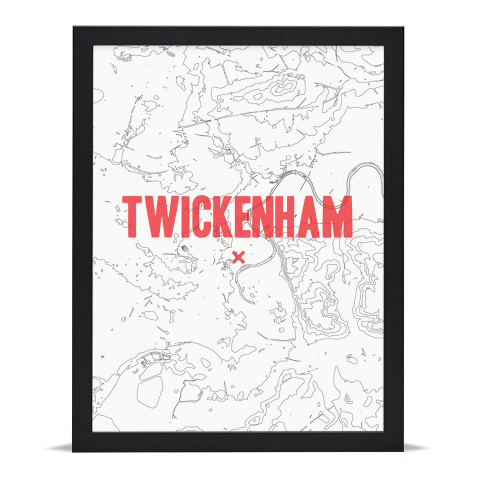 Place in Print Twickenham Contours Red Art Print Black Frame