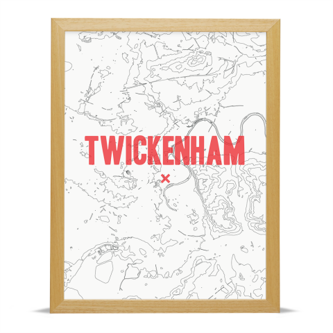Place in Print Twickenham Contours Red Art Print Wood Frame