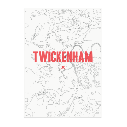 Place in Print Twickenham Contours Red Art Print Unframed