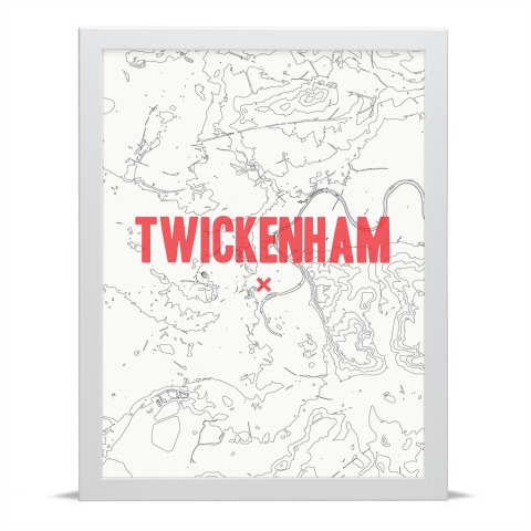 Place in Print Twickenham Contours Red Art Print White Frame