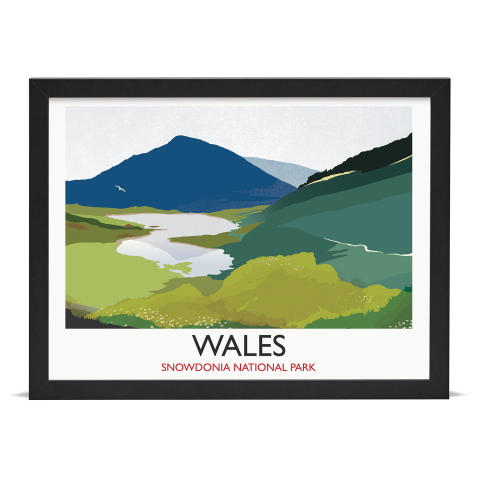 Place in Print Rick Smith Wales02 Travel Poster Art Print 30x40cm Black Frame
