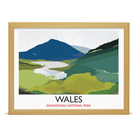 Place in Print Rick Smith Wales02 Travel Poster Art Print 30x40cm Wood Frame