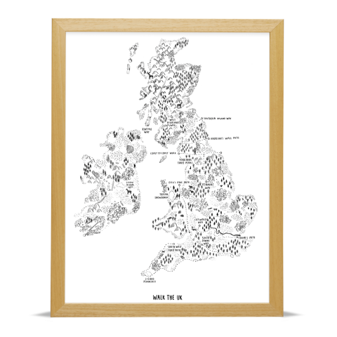 Place in Print Alex Foster Walk the UK Art Poster Print Wood Frame