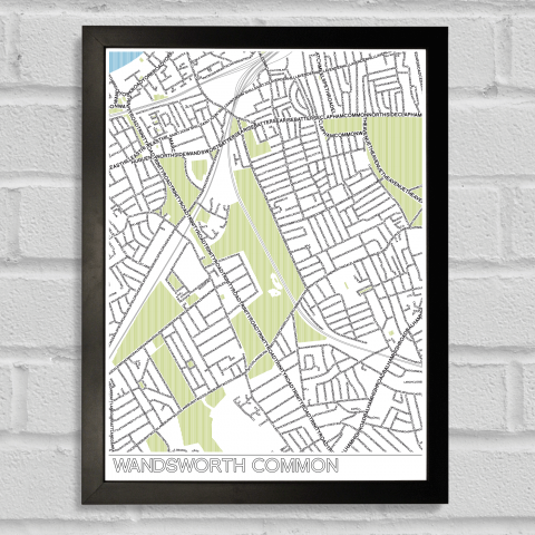 Place in Print Wandsworth Common Typographic Map Poster Print Black Frame
