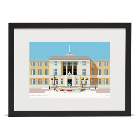 Place in Print Wandsworth Town Hall Landmark Art Print Black Frame