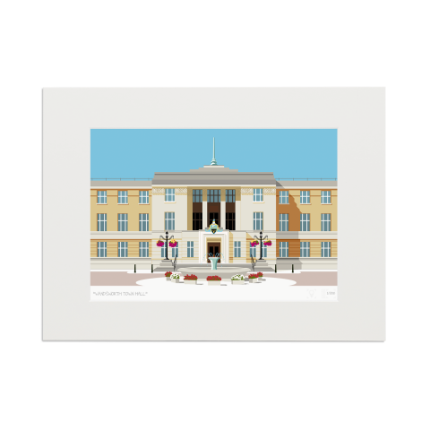 Place in Print Wandsworth Town Hall Landmark Art Print Mounted