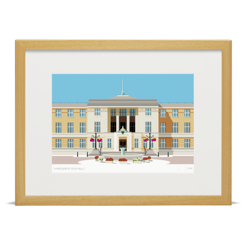 Place in Print Wandsworth Town Hall Landmark Art Print Wood Frame