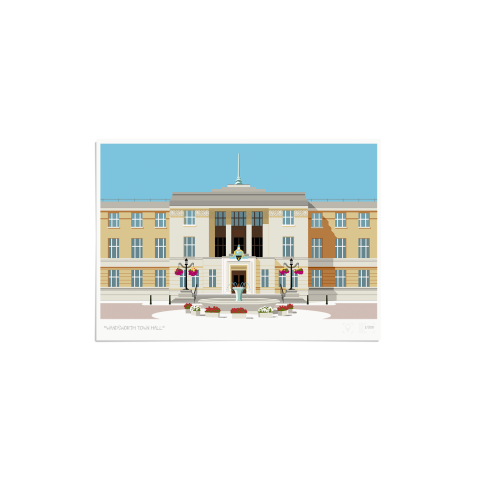 Place in Print Wandsworth Town Hall Landmark Art Print Unframed