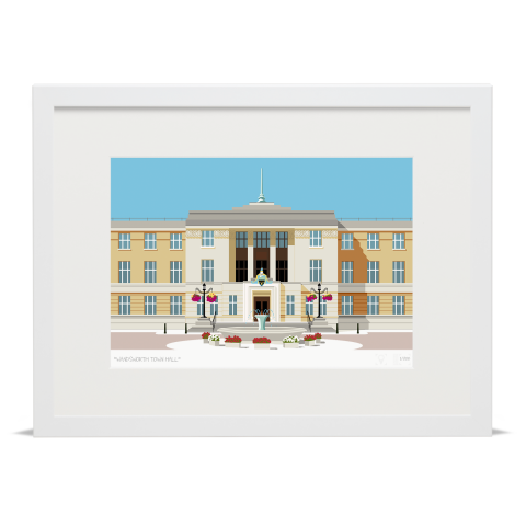 Place in Print Wandsworth Town Hall Landmark Art Print White Frame