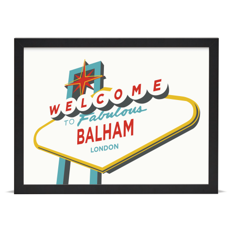 Place in Print Welcome to Balham Vegas Sign Art Print Black Frame