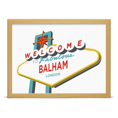Place in Print Welcome to Balham Vegas Sign Art Print Wood Frame