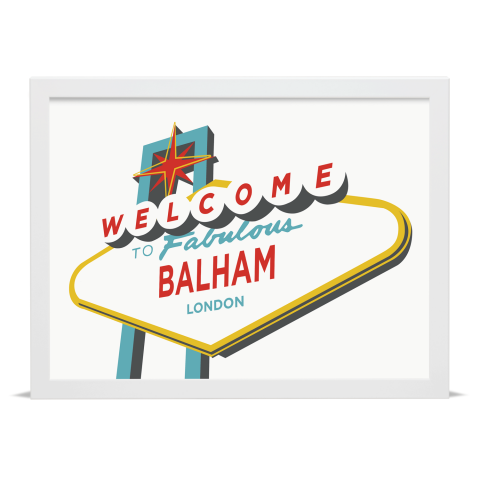 Place in Print Welcome to Balham Vegas Sign Art Print White Frame