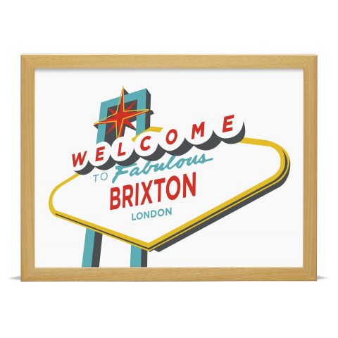 Place in Print Welcome to Brixton Vegas Sign Art Print Wood Frame
