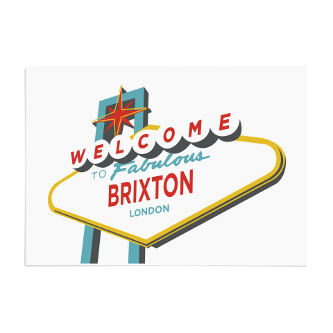 Place in Print Welcome to Brixton Vegas Sign Art Print Unframed