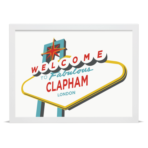Place in Print Welcome to Clapham Vegas Sign Art Print White Frame