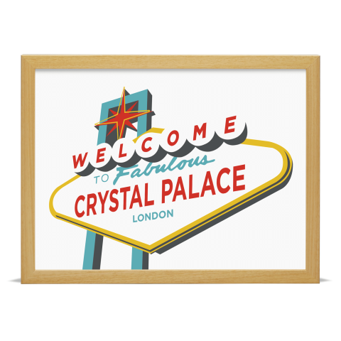 Place in Print Welcome to Crystal Palace Vegas Sign Art Print Wood Frame