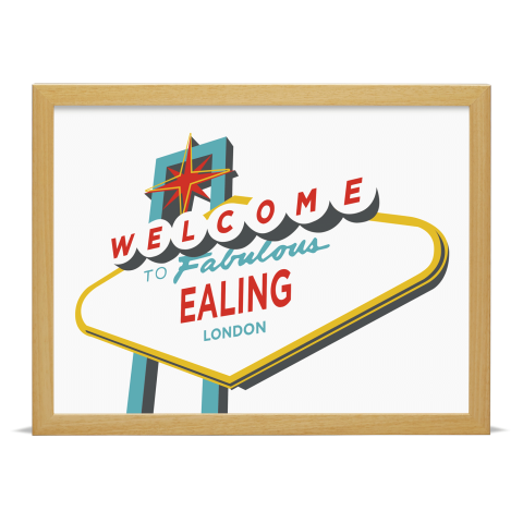 Place in Print Welcome to Ealing London Vegas Sign Art Print Wood Frame
