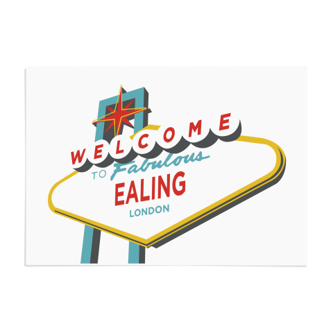 Place in Print Welcome to Ealing London Vegas Sign Art Print Unframed