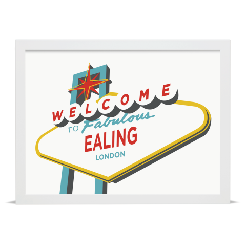 Place in Print Welcome to Ealing London Vegas Sign Art Print White Frame