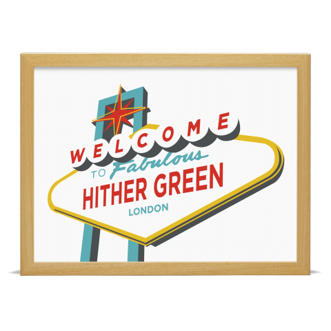 Place in Print Welcome to Hither Green Vegas Sign Art Print Wood Frame