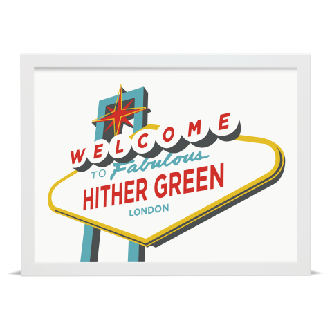 Place in Print Welcome to Hither Green Vegas Sign Art Print White Frame