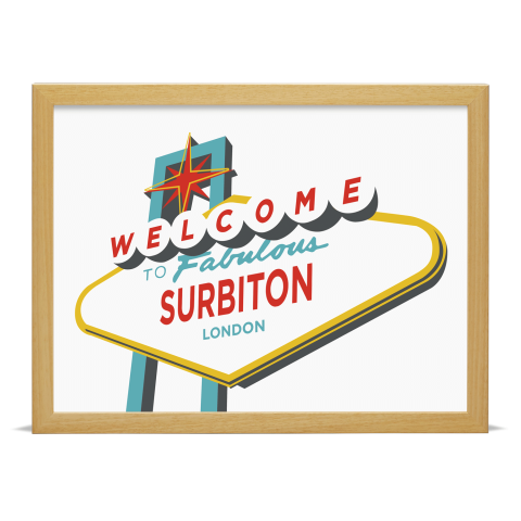Place in Print Welcome to Surbiton London Vegas Sign Art Print Wood Frame