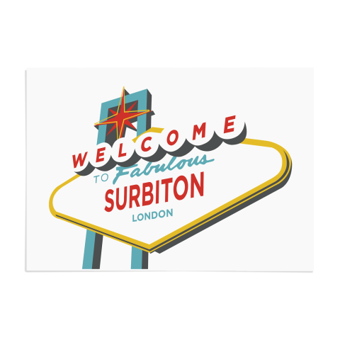 Place in Print Welcome to Surbiton London Vegas Sign Art Print Unframed