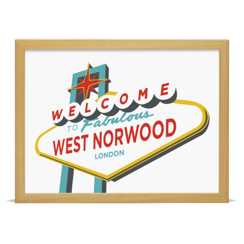 Place in Print Welcome to West Norwood Vegas Sign Art Print Wood Frame