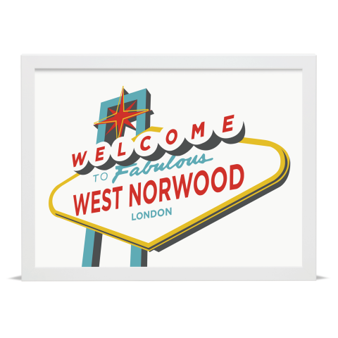 Place in Print Welcome to West Norwood Vegas Sign Art Print White Frame