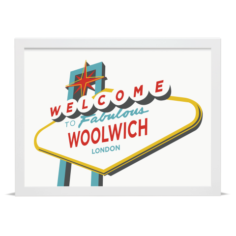 Place in Print Welcome to Woolwich Vegas Sign Art Print White Frame
